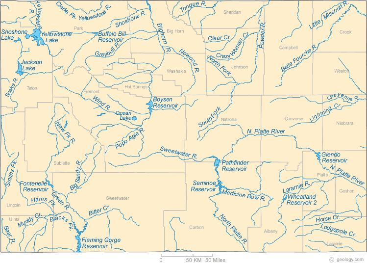 Map of Wyoming Rivers